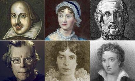 Shakespeare, Austen, Homer, King, Dickinson and Shelley