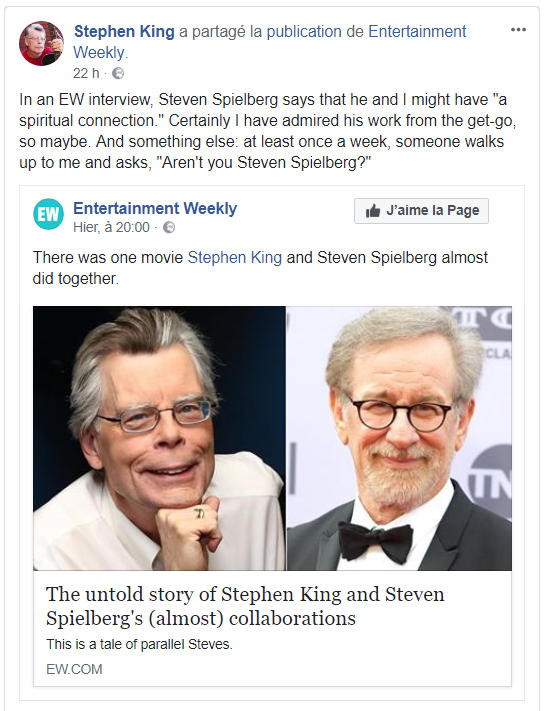 stephen king entertainment weekly facebook steven spielberg